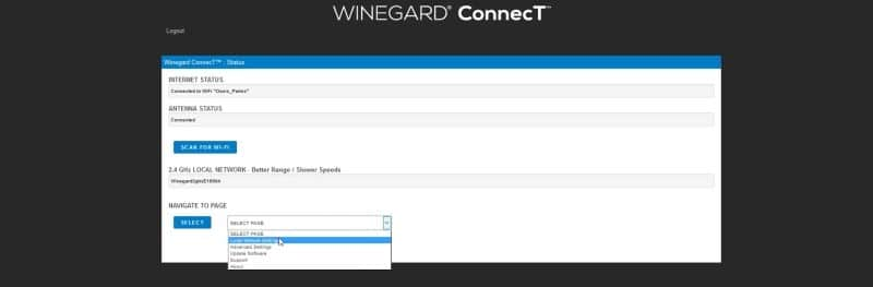 Winegard ConnecT admin panel