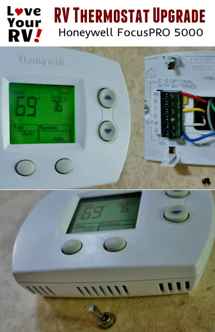 RV Thermostat Upgrade Mod Honeywell FocusPRO 5000 Install notes and video details by the Love Your RV blog - https://www.loveyourrv.com/ #RVing #RVmods