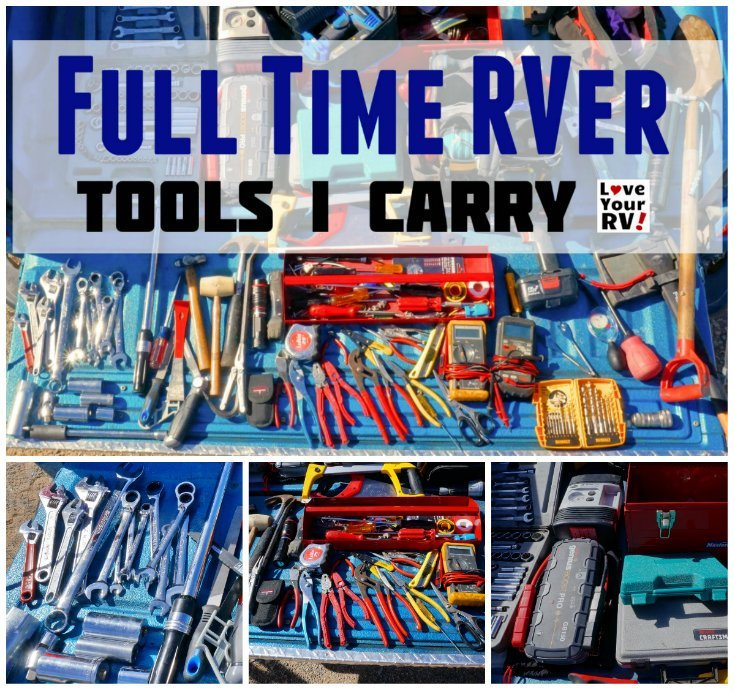 Example of tools carried for full time RVing by the Love Your RV blog - https://www.loveyourrv.com