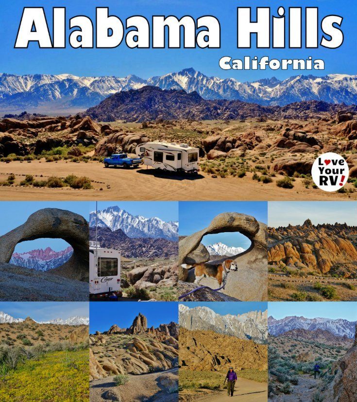 Camping Hiking and Photographing Alabama Hills Free BLM Camping Near Lone Pine California by the Love Your RV blog - https://www.loveyourrv.com
