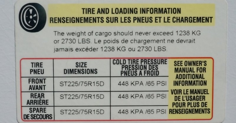 Tire Info Trailer Sticker