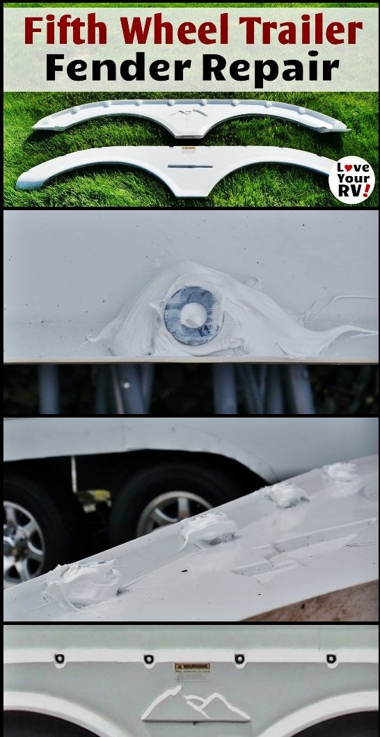How to Fix a Cracked Fifth Wheel Trailer Plastic Fender by the Love Your RV blog - https://www.loveyourrv.com