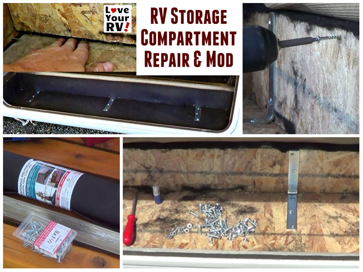 RV Storage Bay Shelf Repair and Modifications by the Love Your RV blog - https://www.loveyourrv.com
