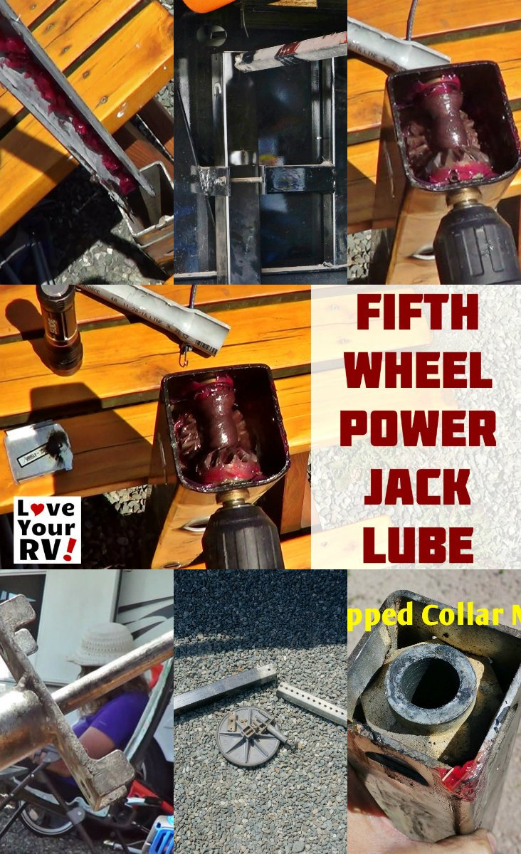 How to lubricate fifth wheel trailer front landing jack legs by the Love Your RV blog - https://www.loveyourrv.com