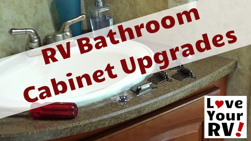 RV Bathroom Cabinet Upgrades Feature Photo