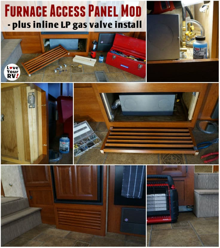 RV Furnace Access Panel Mod and Installing an Inline LP Gas valve by the Love Your RV blog - https://www.loveyourrv.com