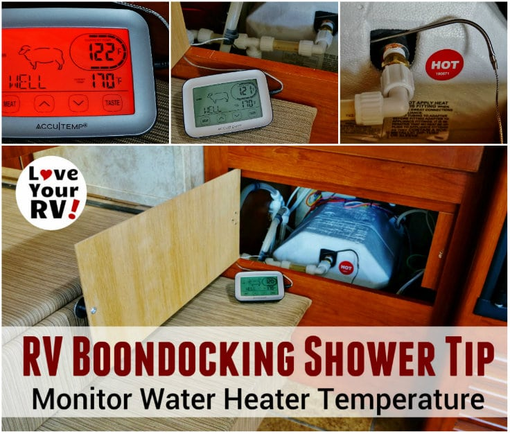 RV Water Heater Temperature Monitor Tip for Dry Camping by the Love Your RV blog - https://www.loveyourrv.com
