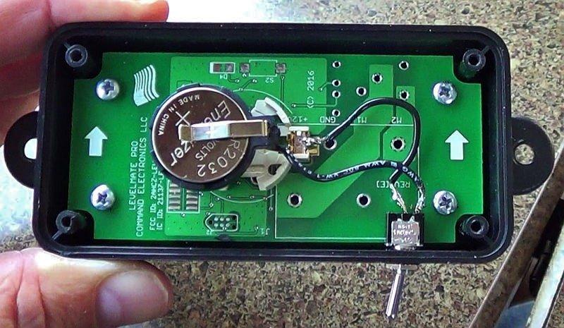 LevelMatePro battery holder and switch installed