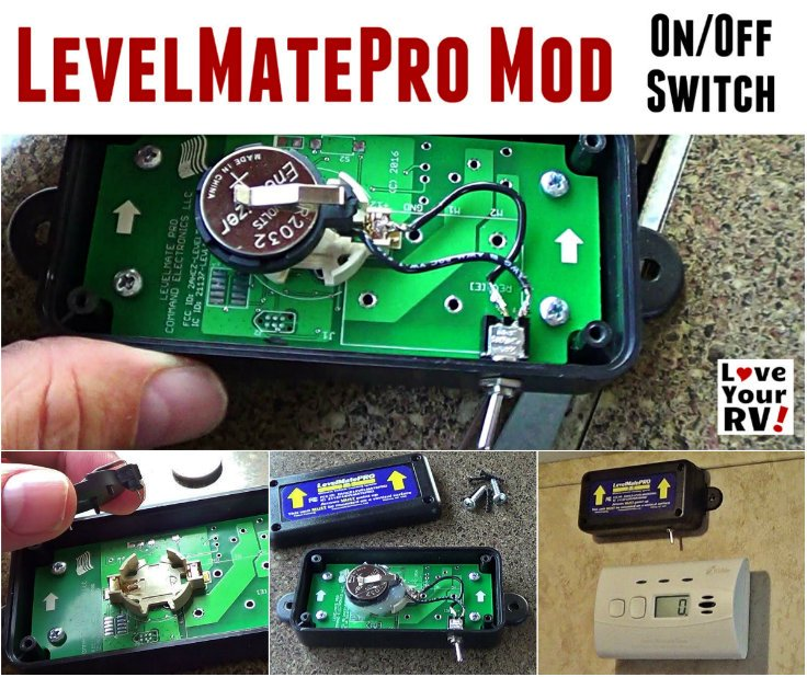 Modded my LevelMatePro RV digital leveling aid Added an on-off switch for better battery life by the Love Your RV! blog - https://www.loveyourrv.com