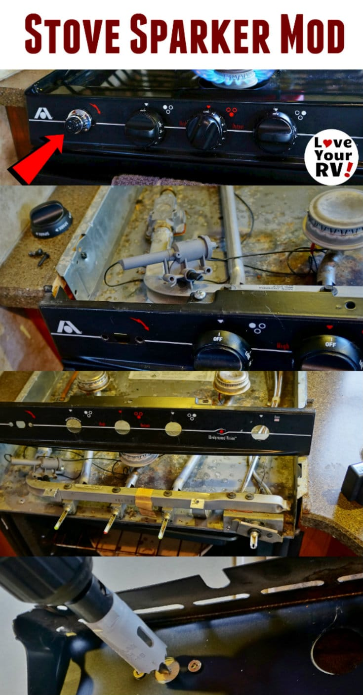RV Gas Stove Upgrade - Swapped OEM mechanical sparker for battery operated push button unit by the Love Your RV blog - https://www.loveyourrv.com