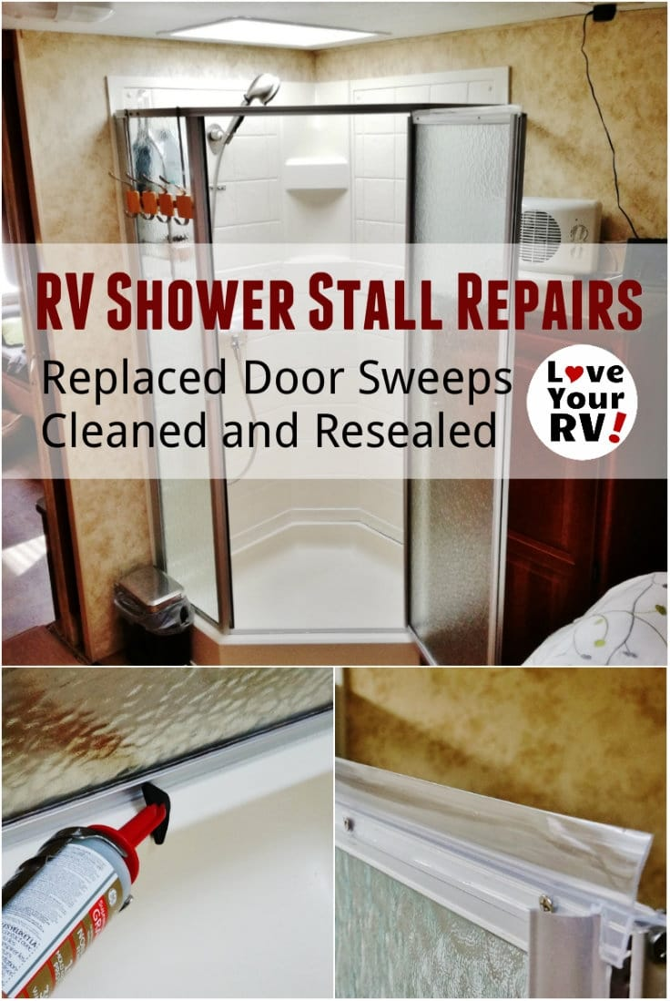 RV Shower Stall Repairs - Replaced torn door sweeps cleaned and resealed. Love Your RV blog - https://www.loveyourrv.com