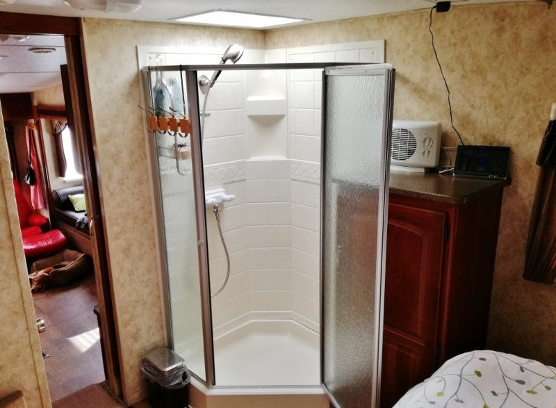 RV Shower Stall Repairs New Door Sweeps And Reseal - Caulking shower base