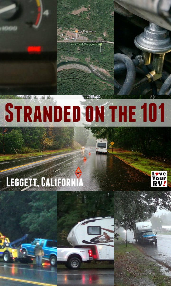 Standed on Highway 101 between Eureka and Willits California. A broken down RV tale by the Love Your RV blog - https://www.loveyourrv.com/stranded-101-highway-northern-california/