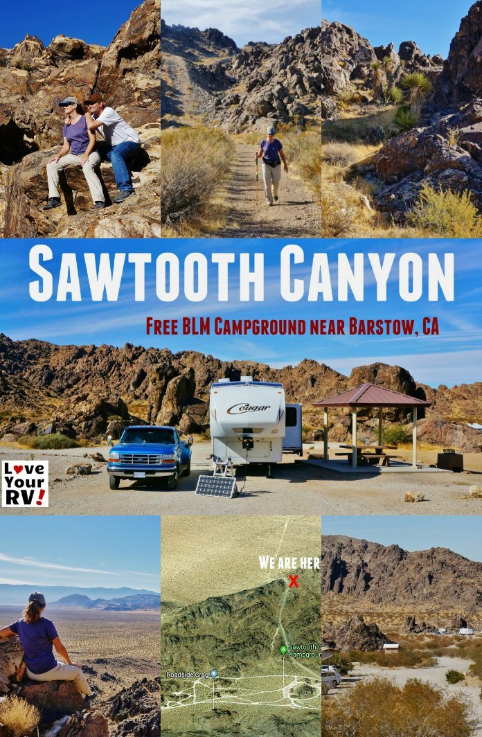 Camping and Hiking at Sawtooth Canyon BLM campsites near Barstow California by the Love Your RV blog - https://www.loveyourrv.com/sawtooth-canyon-blm-campground-near-barstow-california/