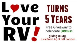 Love Your RV turns 5 years old giveaway blog photo