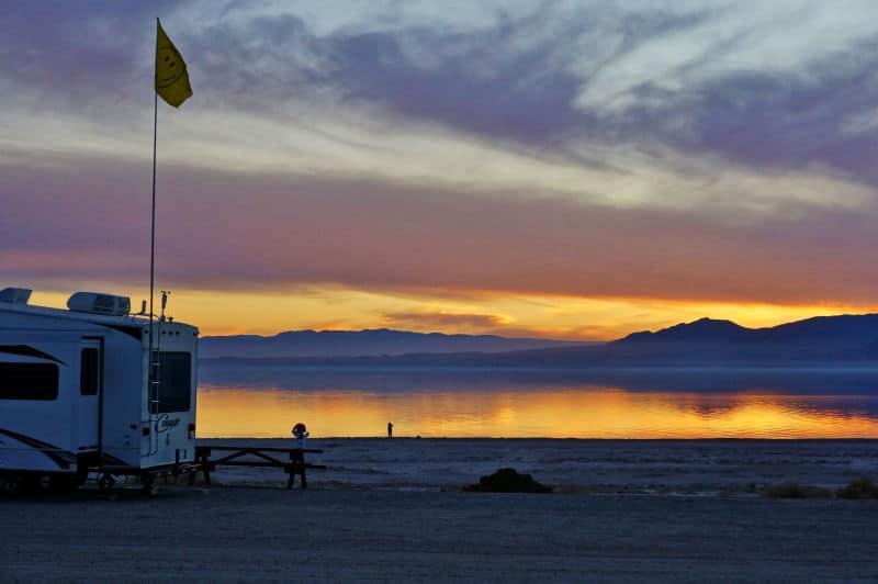 Salton Sea sunset at Corvina Beach Campground