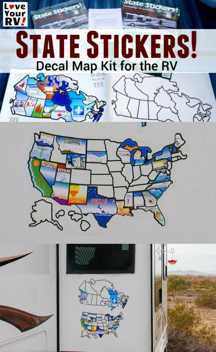 State Stickers Decal Map for the RV featuring USA States and Canadian Provinces Love Your RV - https://www.loveyourrv.com