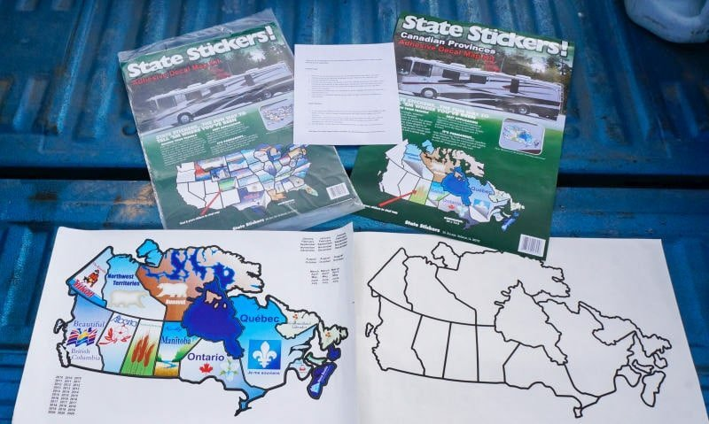 State Stickers Decal Map Kit for the RV