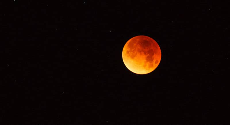 Lunar eclipse blood moon in Ajo, Arizona