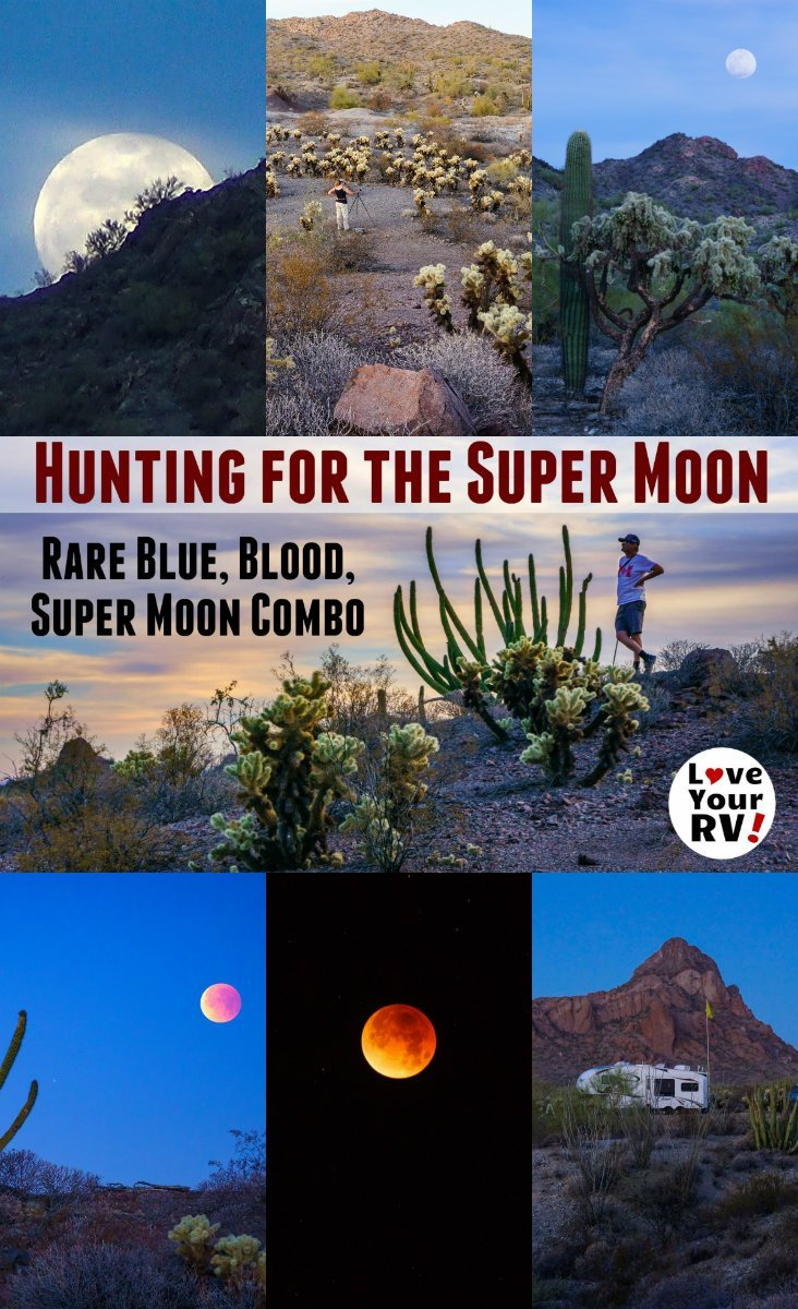 Hunting for the rare Super Blue Blood Moon of Jan 2018 while boondocking along the Ajo Scenic Loop Drive in southern Arizona by the Love Your RV blog - https://www.loveyourrv.com