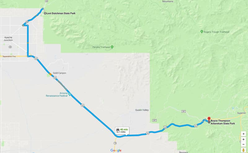 Lost Dutchman SP to Boyce Thompson Arboretum trip map