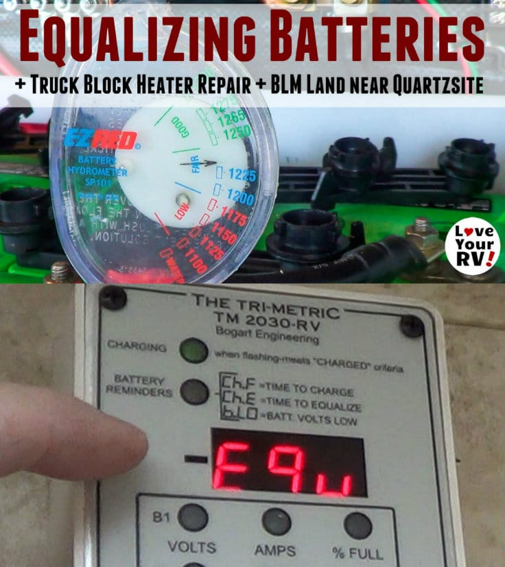 How I equalize my 4 golf cart battery bank on our RV using my Trimetric battery monitor and Bogart solar controller combination by the Love Your RV blog - https://www.loveyourrv.com