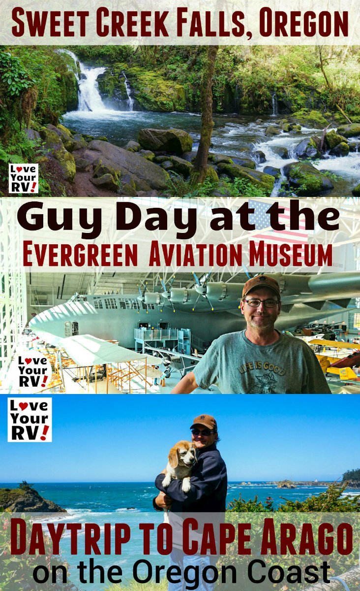 Funtimes touring the Oregon Coast - Dramatic Seascapes,Pretty Water Falls and a Humongous Seaplane by the Love Your RV blog - https://www.loveyourrv.com