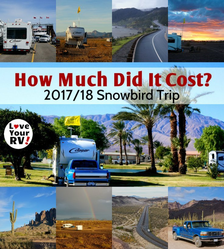 How much were the basic expenses for our 2017 2018 six month RV snowbird trip from BC to the US southwest by the Love Your RV blog - https://www.loveyourrv.com
