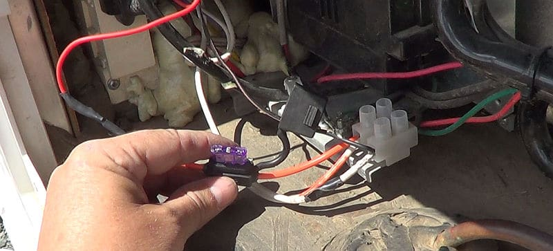 3A fuse wired into the 12 volt line to the fridge