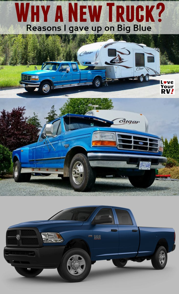 In the video I go through why I've decided to not fix our old 1994 F350 Ford truck and buy a brand new Ram 3500 - https://www.loveyourrv.com/why-we-are-buying-a-new-truck-versus-fixing-big-blue/