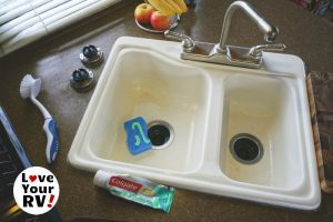 Cleaning RV sink with toothpaste feature photo