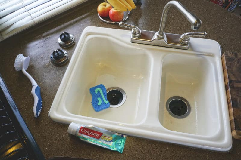 Cleaning RV sink with toothpaste