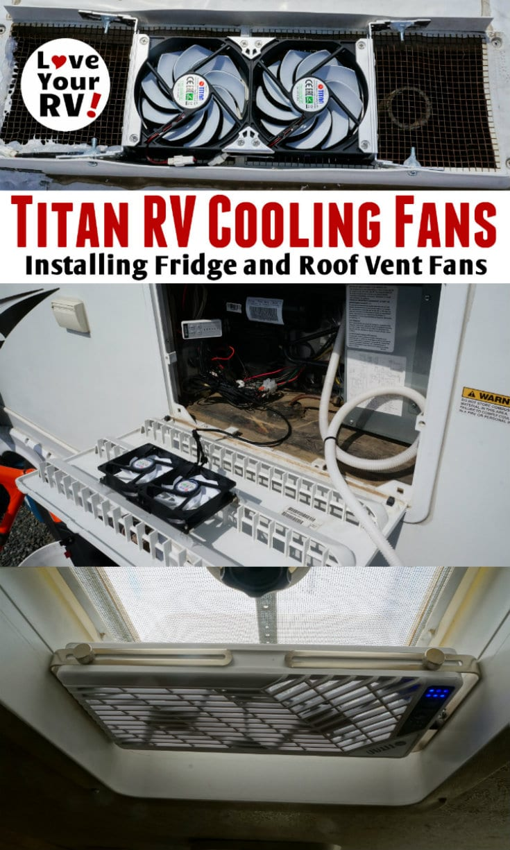 Installing Titan multipurpose rack fans to help cool the RV fridge and interior by the Love Your RV blog - https://www.loveyourrv.com