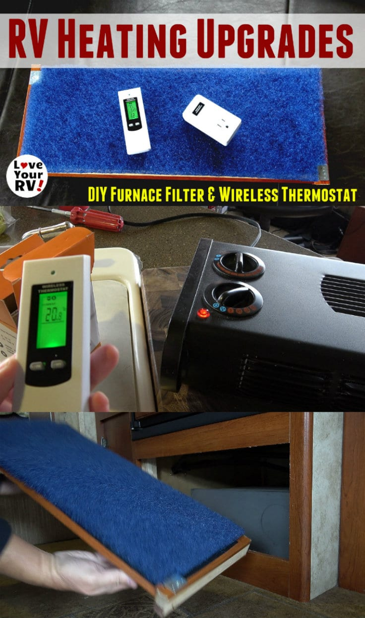 A couple simple RV heating upgrades I made. Installed a DIY furnace filter and added a wireless thermostat for a space heater - https://www.loveyourrv.com