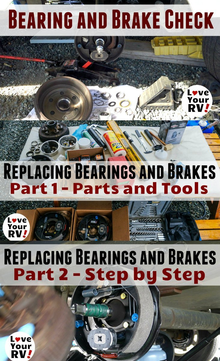 Installing New Trailer Bearings and Brakes on Our Cougar Fifth Wheel trailer by the Love Your RV blog - https://www.loveyourrv.com/installing-new-trailer-bearings-and-brakes-on-our-cougar-fifth-wheel/
