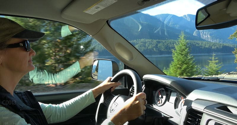 Anne driving the new truck