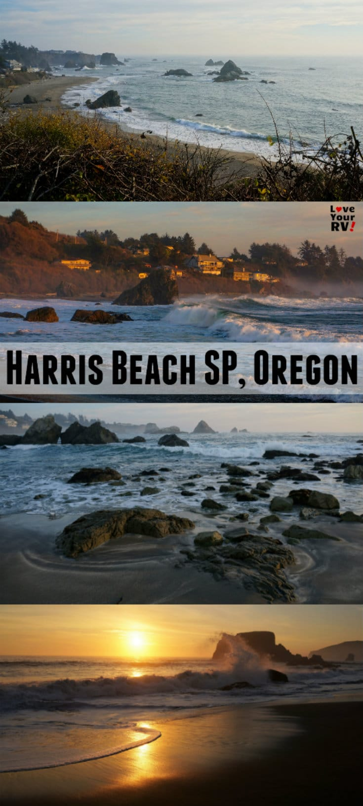 Camping and beach walks at Harris Beach State Park in Brookings Oregon by the Love Your RV blog - https://www.loveyourrv.com