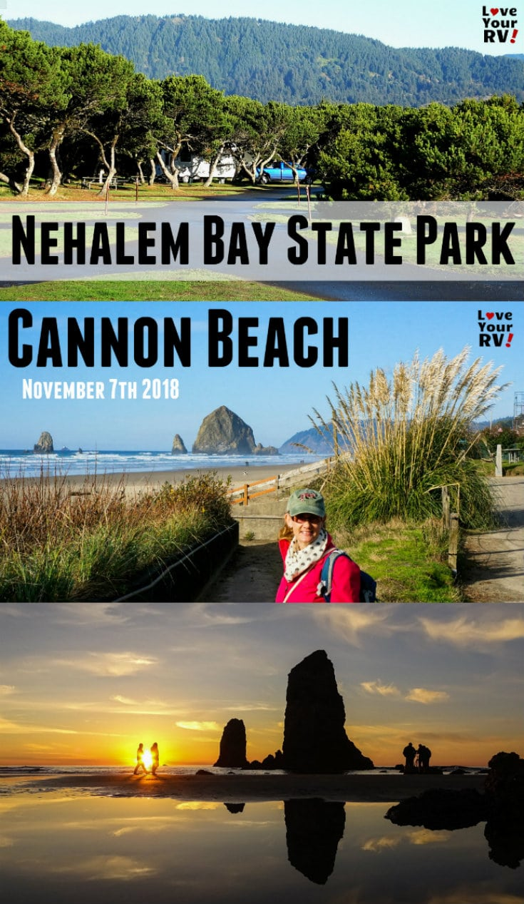 Four videos from our November 2018 visit to Cannon Beach Oregon and the area around it - Nehalem Bay State Park and Hug Point by the Love Your RV blog - https://www.loveyourrv.com/2018-19-snowbird-trip-begins-cannon-beach/