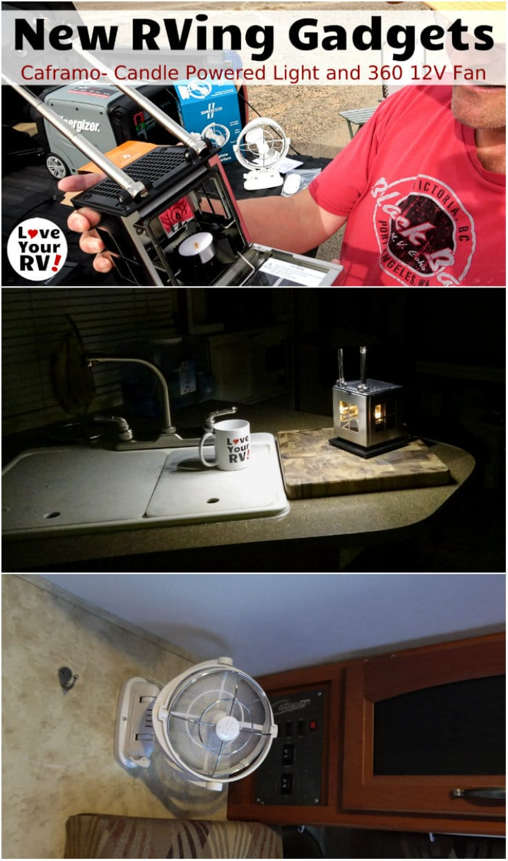 A couple new RVing related gadgets to add to our collection. A Caframo brand Candle powered LED lamp and a 12 volt 360 low powered fan Ideal items for boondocking - https://www.loveyourrv.com/more-rv-gadgets-candle-powered-lamp-12v-360-degree-fan/