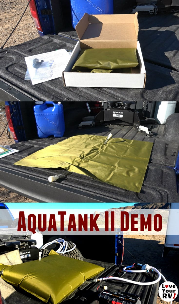 Demoing my new Aquatank II water storage bladder for dry camping use by the Love Your RV blog - https://www.loveyourrv.com