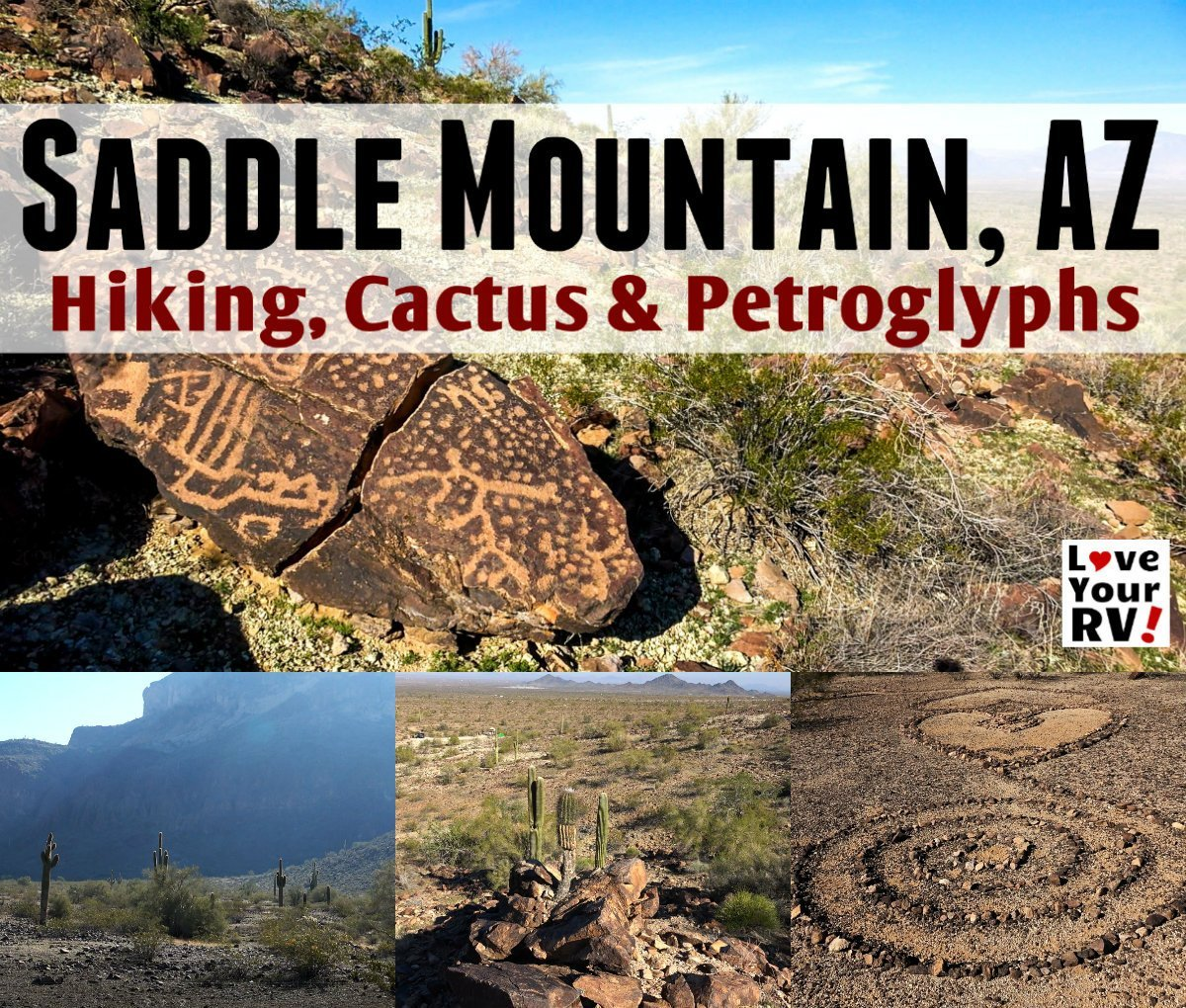Morning hike in the Saddle Mountain BLM Dispersed camping area near Tonopah Arizona - https://www.loveyourrv.com/morning-hike-saddle-mountain-az-petroglyphs-cactus-and-sweeping-views/