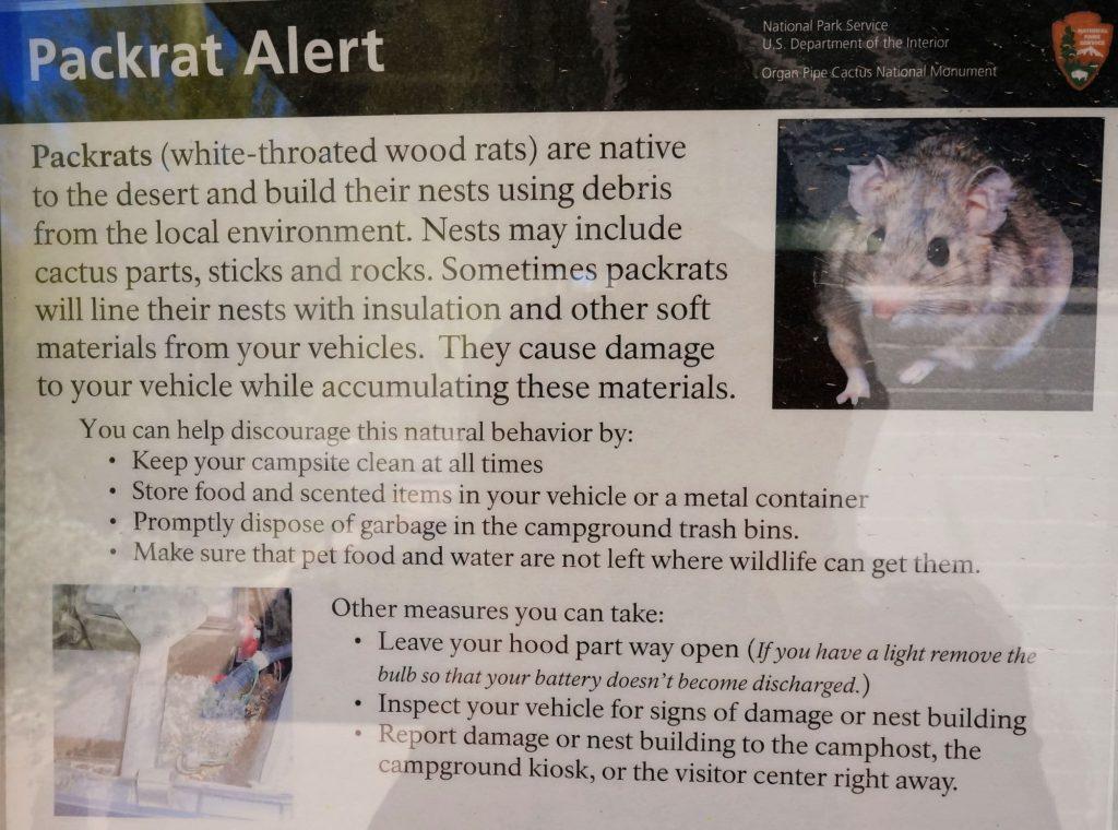 National Park Pack Rat warning
