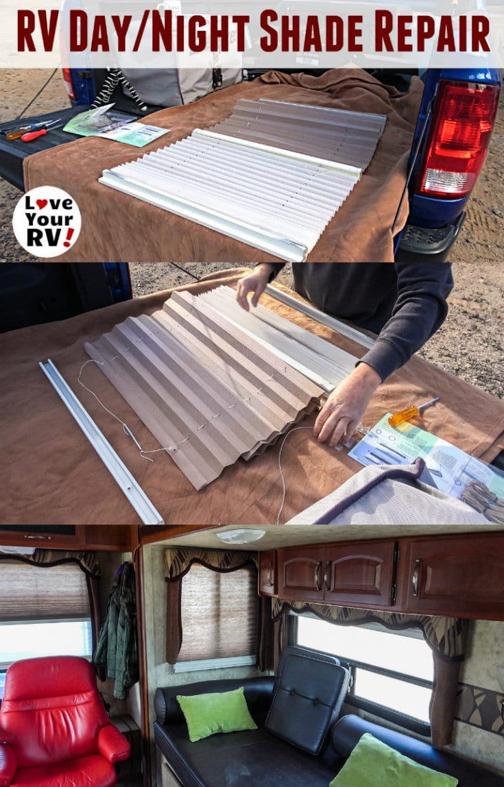 Repairing a set of RV day night shades - broken string by the Love Your RV! blog - https://www.loveyourrv.com