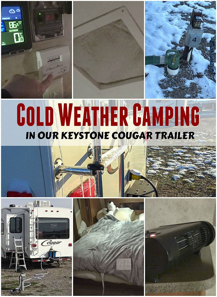 Tips and Advice for Cold Weather RVing on out Keystone Cougar Fifth Wheel Trailer by the Love You RV blog - https://www.loveyourrv.com/cold-weather-rving-in-our-keystone-cougar-trailer/