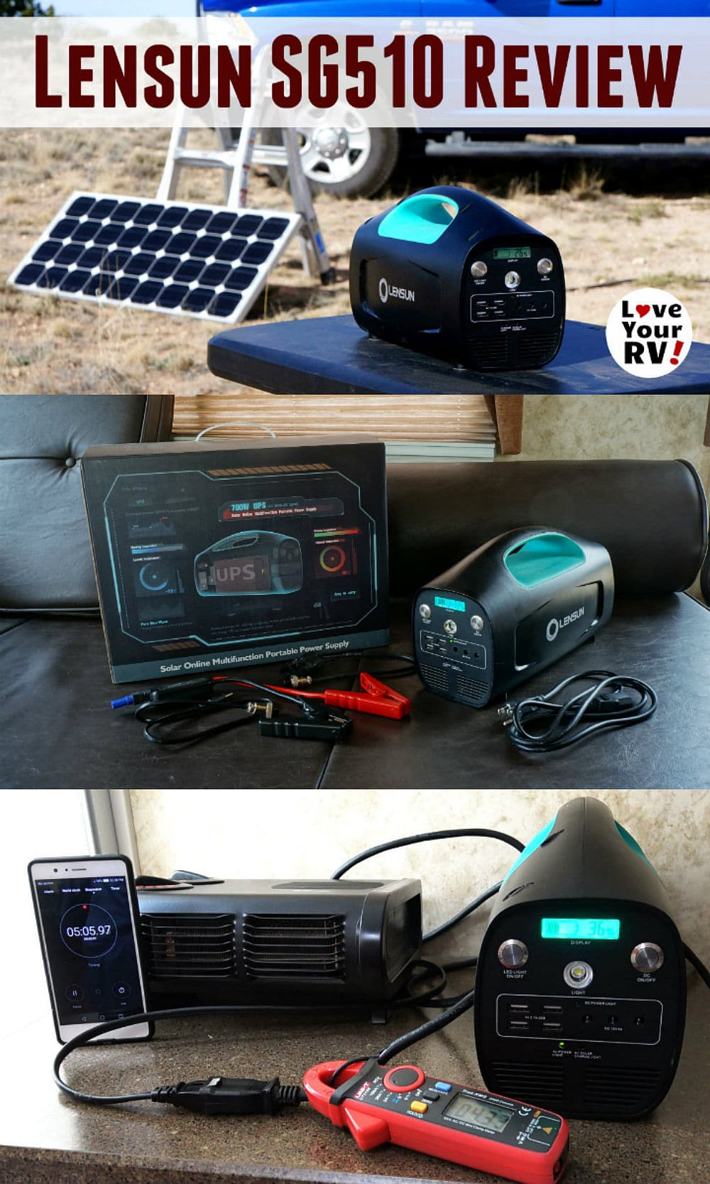 Review of the Lensun SG510 solar generator power box by the Love Your RV blog - https://www.loveyourrv.com