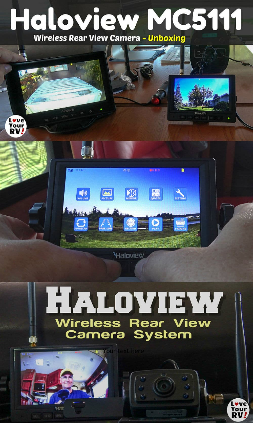 Review of the Haloview MC5111 wireless RV rear monitor camera system by the Love Your RV blog
