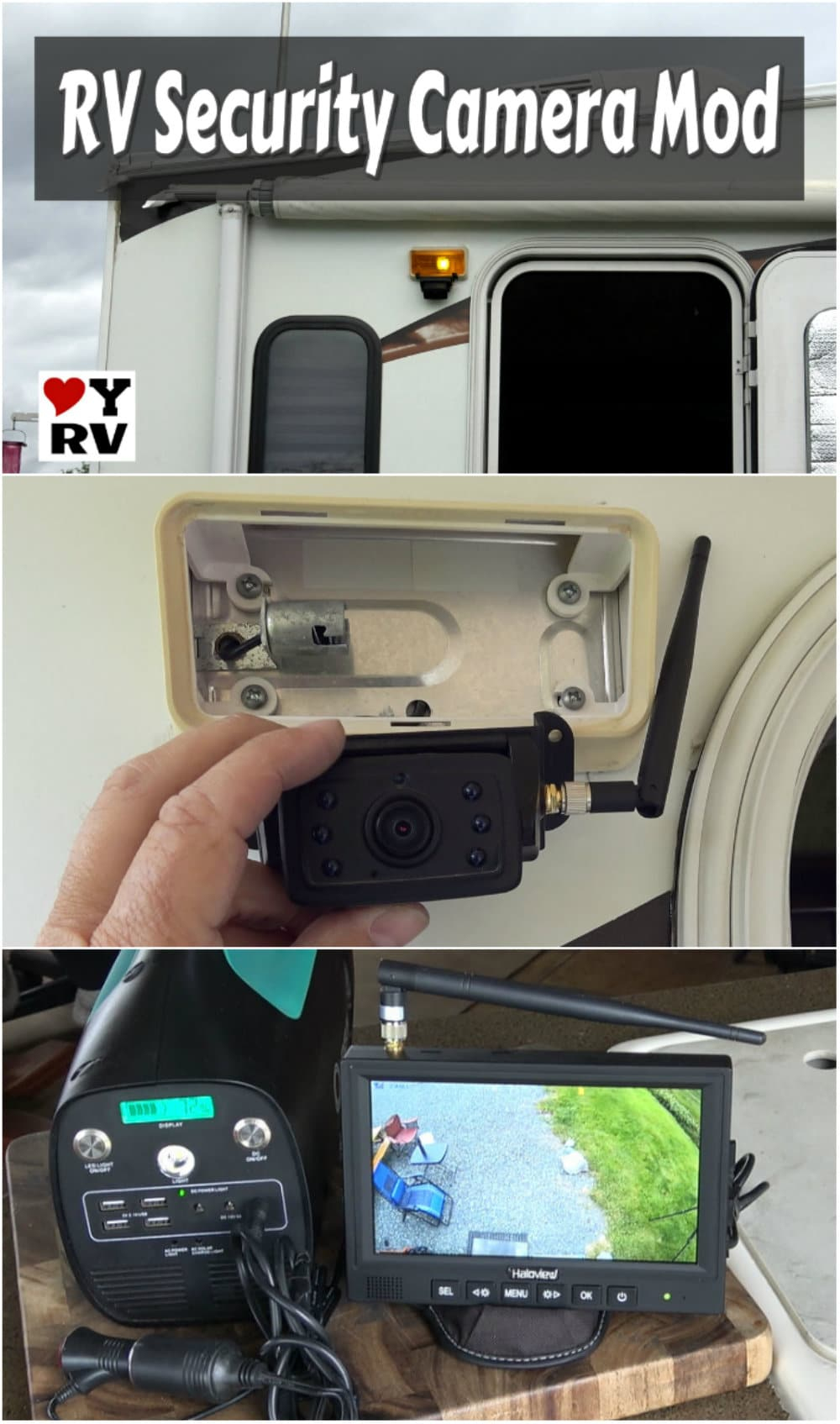 DIY RV Security Camera Mod using a Haloview Backup Camera System by Love Your RV https://www.loveyourrv.com