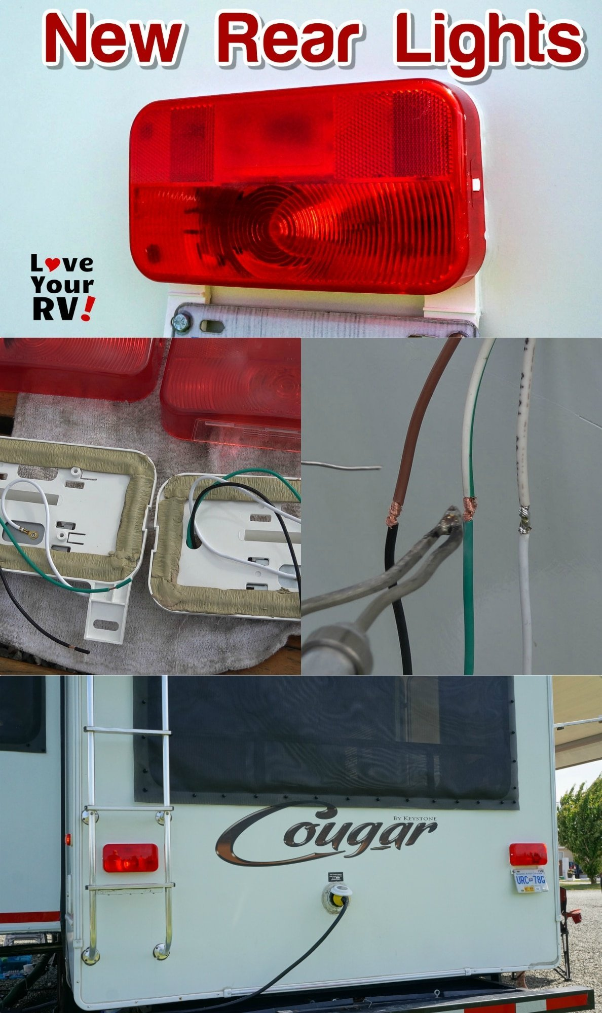 Replacing the rear signal and brake lights on my 2011 Keystone Cougar fifth wheel trailer Love Your RV blog - https://www.loveyourrv.com