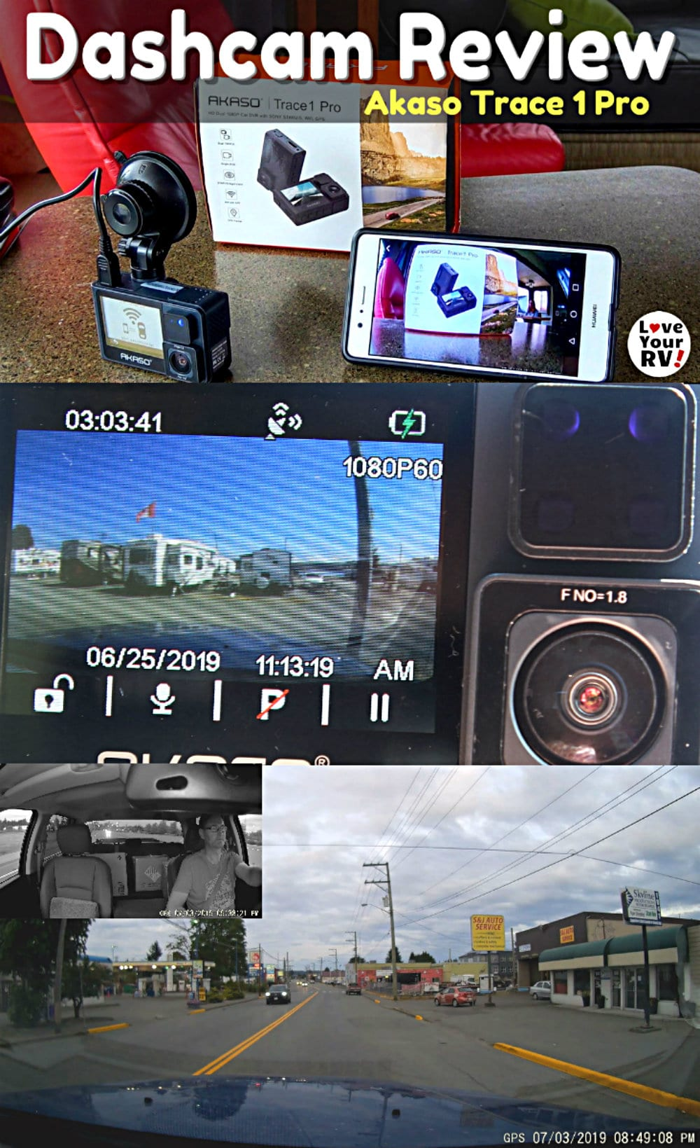 Review of the Akaso Trace 1 Pro Dash Cam with front and rear facing cameras but Love Your RV https://www.loveyourrv.com