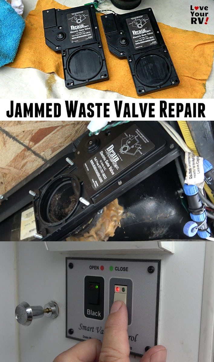 Repairing a jam in the RV black tank valve Keystone Cougar fifth wheel trailer Love Your RV blog